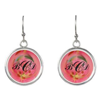 Abstrakte rosa Lilien-Monogramm BCD-Ohrringe Ohrringe