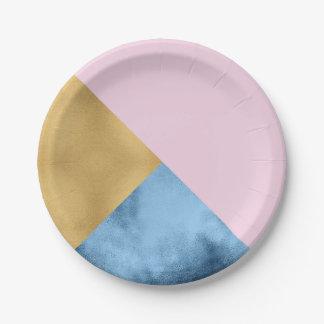 Abstrakte Rosen-Goldmarine-metallische Pappteller