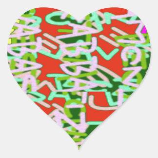 Abstrakte Schönheit der Alphaalphabetsuppen-Kunst Herz-Aufkleber
