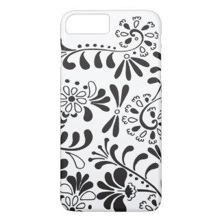Abstrakte Schwarzweiss-Blumen iPhone 8 Plus/7 Plus Hülle