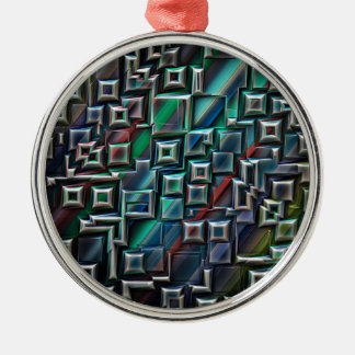 Abstrakte Streifen-Geometrie Silbernes Ornament