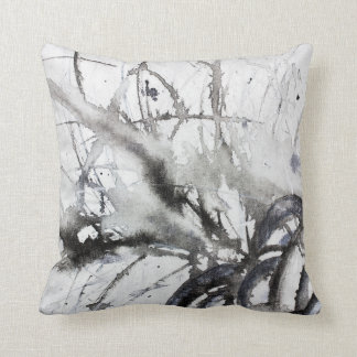 Abstrakte ursprüngliche graue Schwarzweiss-Malerei Kissen