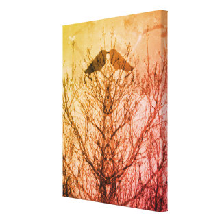 Abstrakter Baumkrähenvogel-Drucksonnenuntergang Leinwanddruck