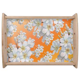 Abstrakter Behälter Blume der orange u. weißen Serviertablett