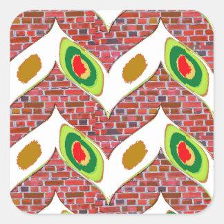 Abstrakter Blattentwurf auf brickwall Quadratischer Aufkleber