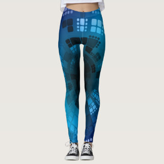 Abstrakter blauer SeegolddiamantSeashell Leggings