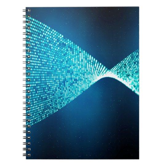 Abstrakter Entwurf blaues Backround und Silber Spiral Notizblock