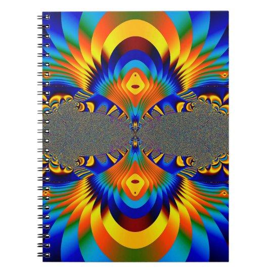 Abstrakter Entwurfs-blaues und gelbes Muster Spiral Notizblock