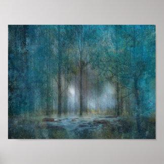 Abstrakter Fantasie-Wald Poster