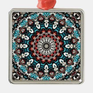 Abstrakter FormenMandala Silbernes Ornament