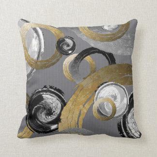 Abstrakter Goldfarbring-Schwarz-weiße Kissen