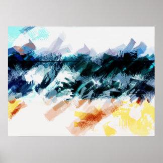 Abstrakter Himmel, Meer und Sand Poster
