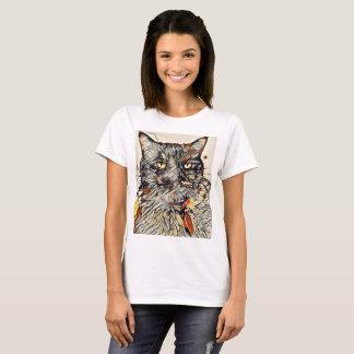Abstrakter Katzen-T - Shirt, Schwarzes oder Weiß T-Shirt