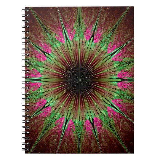 Abstrakter Kunst-Grün-Stern Spiral Notizbuch