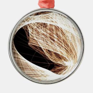 abstrakter Kunst-Wirbel - Abgrund Rundes Silberfarbenes Ornament