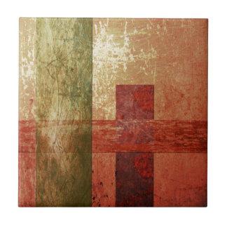 Abstrakter Kunstgrunge-geometrisches rotes orange Fliese