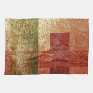 Abstrakter Kunstgrunge-geometrisches rotes orange Handtuch