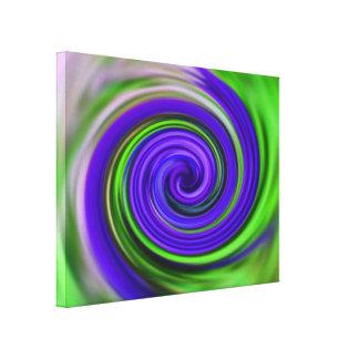 Abstrakter lila und grüner Wirbel Leinwanddruck