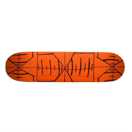 Abstrakter schwarzer/orange Entwurf #1 Personalisierte Skatedecks