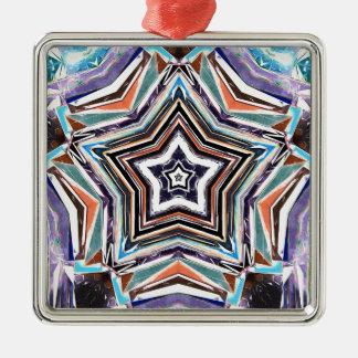 Abstrakter Spektralstern Silbernes Ornament