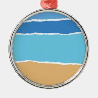 Abstrakter Strand, Meer und Himmel Silbernes Ornament
