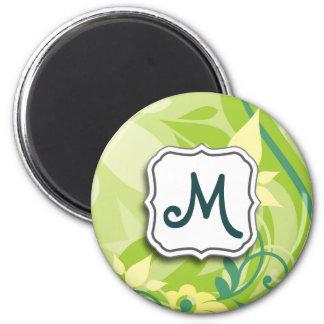 Abstrakter Strudel-Limones Mit Blumengrün mit Runder Magnet 5,1 Cm