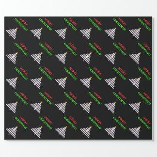 Abstrakter verzierter Weihnachtsbaum + Gruß Geschenkpapier