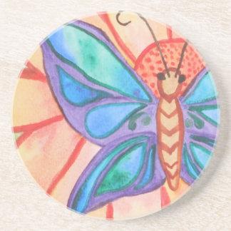 Abstrakter Watercolorschmetterling und -Blume Sandstein Untersetzer