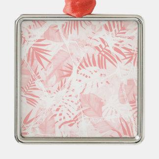 Abstrakter weicher rosa tropischer Entwurf Quadratisches Silberfarbenes Ornament