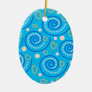 Abstrakter Wirbel auf Blau Keramik Ornament