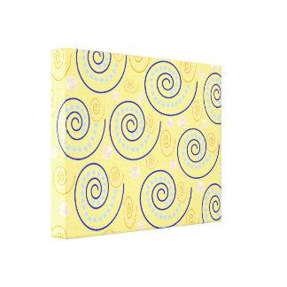 Abstrakter Wirbel auf Gelb Leinwand Druck