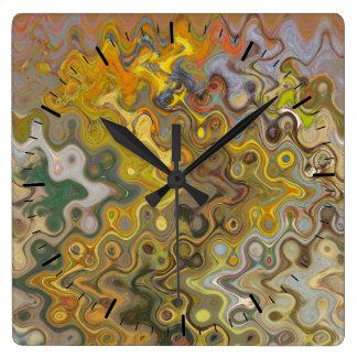 Abstrakter Wirbel auf Uhr-Gesichts-schönen Farben Quadratische Wanduhr