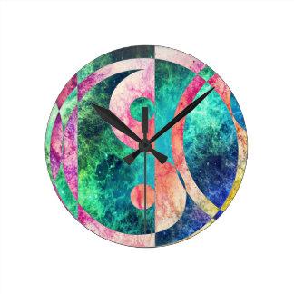 Abstrakter Yin Yang Nebelfleck Runde Wanduhr