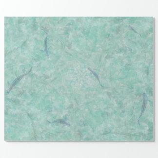 Abstraktes Aqua-Pool und Koi Geschenkpapier