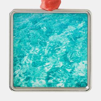 Abstraktes Blau Quadratisches Silberfarbenes Ornament