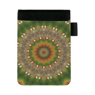Abstraktes Brown und grünes Kaleidoskop-Muster Mini Padfolio