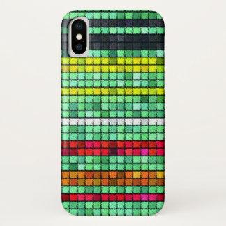 Abstraktes buntes Steppdeckengewebe iPhone X Hülle