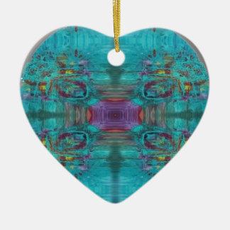 Abstraktes Digital-Kunst-Fraktal Design Keramik Herz-Ornament