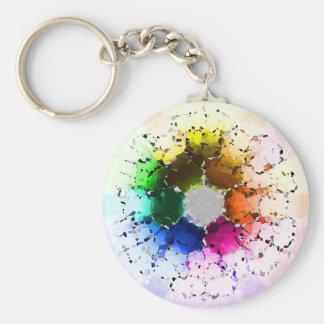 Abstraktes Farbrad Schlüsselanhänger