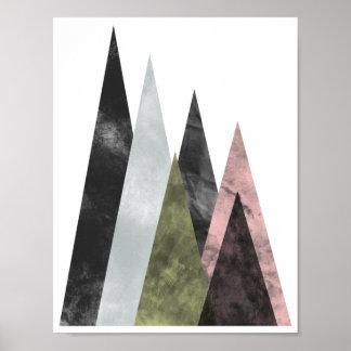 Abstraktes geometrisches Gebirgsplakat im Rosa u. Poster
