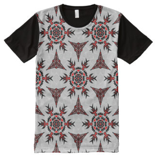 Abstraktes geometrisches Tatto mögen Muster T-Shirt Mit Bedruckbarer Vorderseite