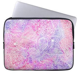 Abstraktes Girly lila rosa Paisley-Skizze-Muster Laptop Sleeve Schutzhüllen