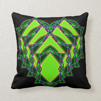 Abstraktes grünes Herz Kissen