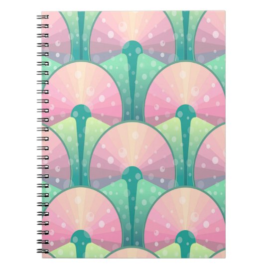 Abstraktes grünes und rosa nahtloses Muster Notizblock