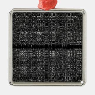 Abstraktes Kettenmuster Quadratisches Silberfarbenes Ornament
