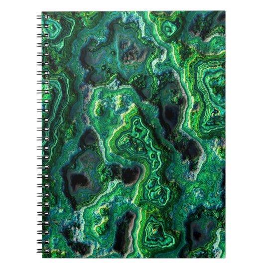 Abstraktes Kunst-Grün-Muster Spiral Notizblock