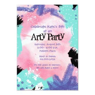 Abstraktes Malerei-Kunst-Party laden ein 12,7 X 17,8 Cm Einladungskarte