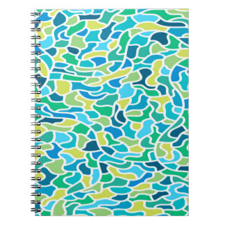 Abstraktes Muster-blauer u. grüner Spiral Notizblock