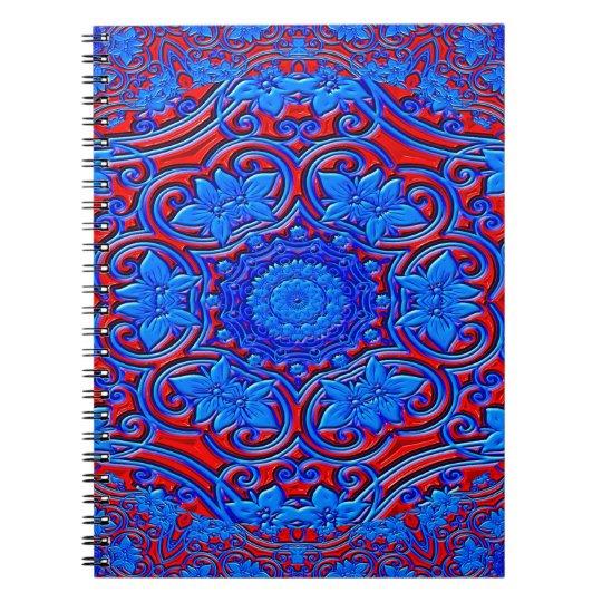 Abstraktes Muster-blauer und roter Hintergrund Notizblock