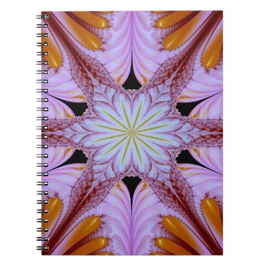 Abstraktes Muster-Blumenstern lila und Brown Notiz Buch